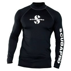 Rash Guard Black Shirt, Men, langarm (UPF-50) (schwarz)