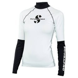 Rash Guard Shell Shirt, Lady, langarm (UPF-50) (weiss/schwarz)